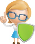 Simple Business Woman Vector 3D Cartoon Character AKA Nerdellina - Shield