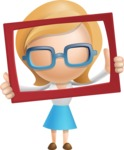 Simple Business Woman Vector 3D Cartoon Character AKA Nerdellina - Frame
