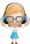 Simple Business Woman Vector 3D Cartoon Character AKA Nerdellina - Music