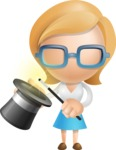 Simple Business Woman Vector 3D Cartoon Character AKA Nerdellina - Abracadabra