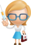 Simple Business Woman Vector 3D Cartoon Character AKA Nerdellina - Doctor
