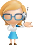 Simple Business Woman Vector 3D Cartoon Character AKA Nerdellina - Support 2