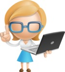 Simple Business Woman Vector 3D Cartoon Character AKA Nerdellina - Laptop 3