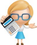 Simple Business Woman Vector 3D Cartoon Character AKA Nerdellina - Calculator