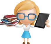 Simple Business Woman Vector 3D Cartoon Character AKA Nerdellina - Book and iPad