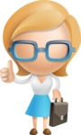 Simple Business Woman Vector 3D Cartoon Character AKA Nerdellina - Businessman