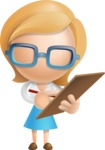 Simple Business Woman Vector 3D Cartoon Character AKA Nerdellina - Notepad 1