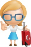 Simple Business Woman Vector 3D Cartoon Character AKA Nerdellina - Travel
