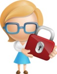 Simple Business Woman Vector 3D Cartoon Character AKA Nerdellina - Lock