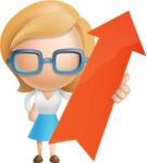 Simple Business Woman Vector 3D Cartoon Character AKA Nerdellina - Arrow 1