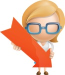 Simple Business Woman Vector 3D Cartoon Character AKA Nerdellina - Arrow 3