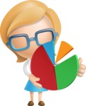 Simple Business Woman Vector 3D Cartoon Character AKA Nerdellina - Chart