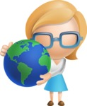 Simple Business Woman Vector 3D Cartoon Character AKA Nerdellina - Earth