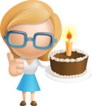Simple Business Woman Vector 3D Cartoon Character AKA Nerdellina - Cake