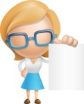 Simple Business Woman Vector 3D Cartoon Character AKA Nerdellina - Sign 3