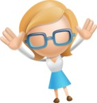 Simple Business Woman Vector 3D Cartoon Character AKA Nerdellina - Happy