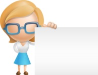 Simple Business Woman Vector 3D Cartoon Character AKA Nerdellina - Sign 8