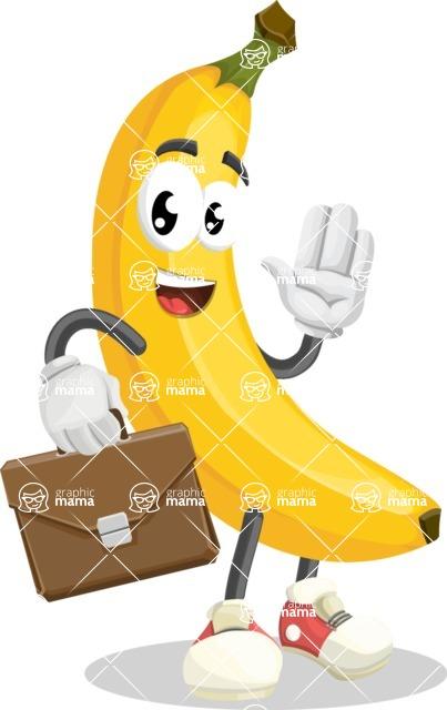 Cute Banana Cartoon Vector Character AKA Banana Peelstrong - Being Businessman with Briefcase