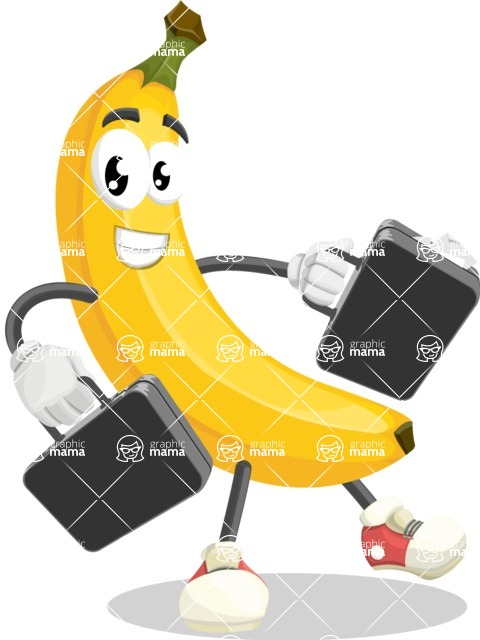 Cute Banana Cartoon Vector Character AKA Banana Peelstrong - Being Bussy with Briefcases