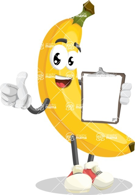 Cute Banana Cartoon Vector Character AKA Banana Peelstrong - Being Happy and Showing a Notepad