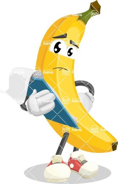 Cute Banana Cartoon Vector Character AKA Banana Peelstrong - Being Sad Holding a Notepad