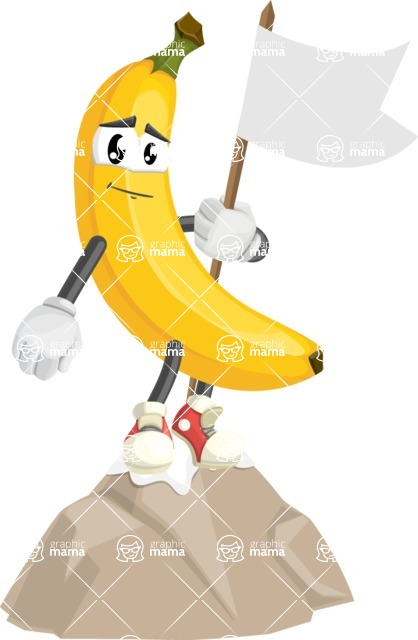 Cute Banana Cartoon Vector Character AKA Banana Peelstrong - Being Successful on Top