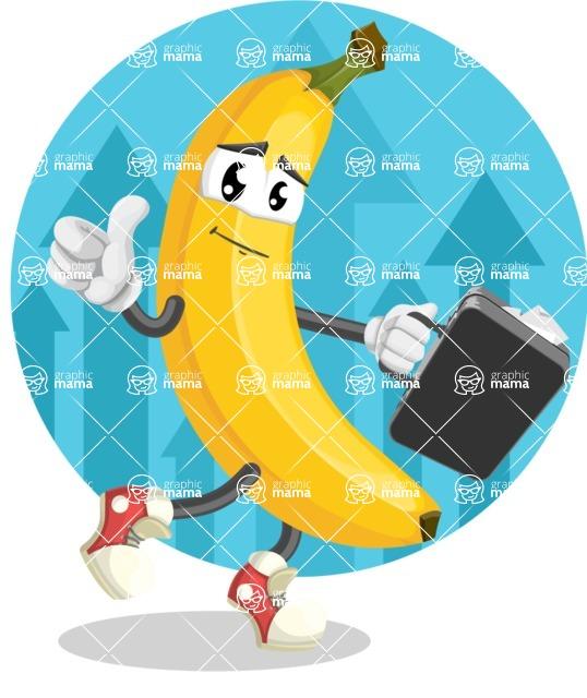 Cute Banana Cartoon Vector Character AKA Banana Peelstrong - Businessman with Cool Background