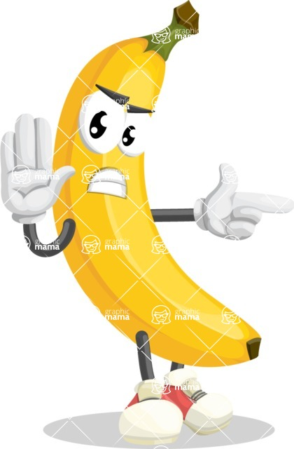 Cute Banana Cartoon Vector Character AKA Banana Peelstrong - Finger pointing with angry face