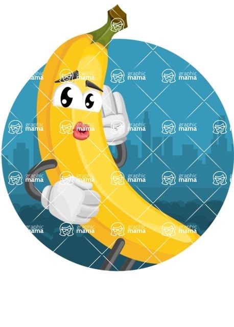 Cute Banana Cartoon Vector Character AKA Banana Peelstrong - Funny Sticker Template