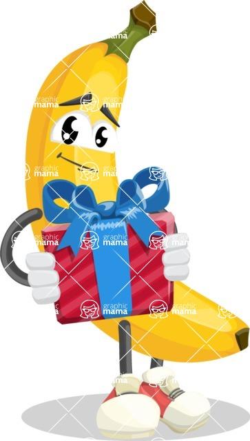 Cute Banana Cartoon Vector Character AKA Banana Peelstrong - Holding a Gift