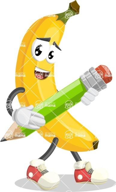 Cute Banana Cartoon Vector Character AKA Banana Peelstrong - Holding a Pencil