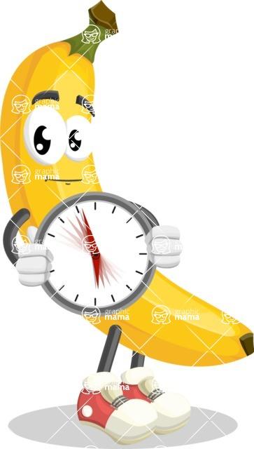 Cute Banana Cartoon Vector Character AKA Banana Peelstrong - Holding clock