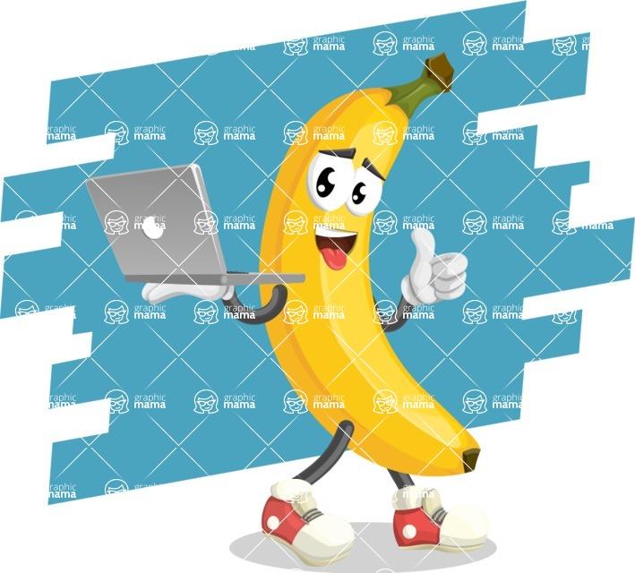 Cute Banana Cartoon Vector Character AKA Banana Peelstrong - Holding Computer Illustration with Background