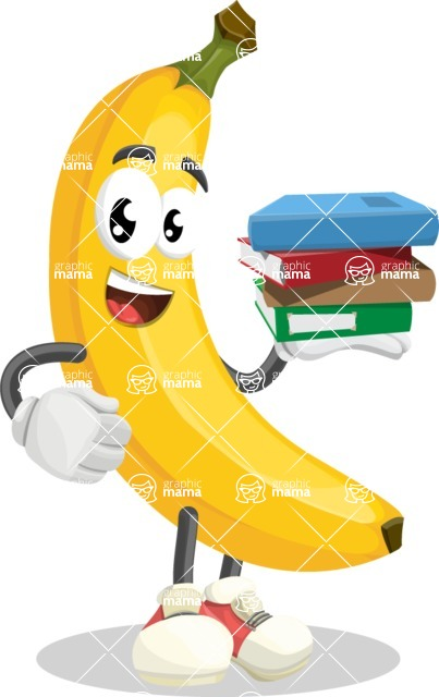 Cute Banana Cartoon Vector Character AKA Banana Peelstrong - Holding Education Books