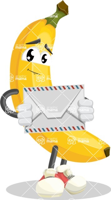 Cute Banana Cartoon Vector Character AKA Banana Peelstrong - Holding Mail Envelope