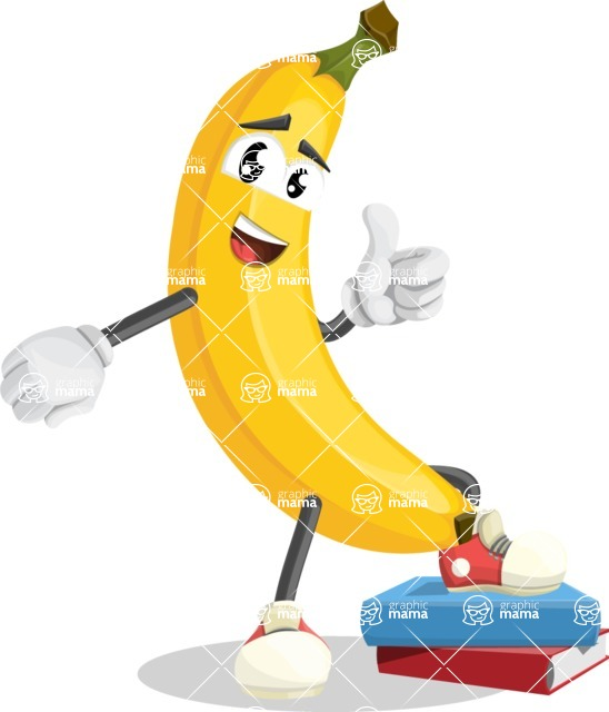 Cute Banana Cartoon Vector Character AKA Banana Peelstrong - Learning from Book