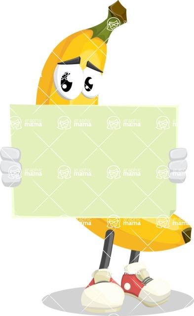 Cute Banana Cartoon Vector Character AKA Banana Peelstrong - Looking At Blank Sign