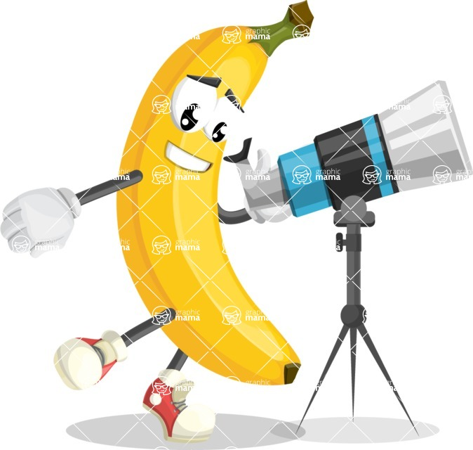 Cute Banana Cartoon Vector Character AKA Banana Peelstrong - Looking through telescope