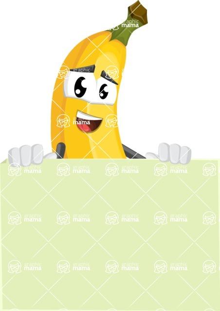 Cute Banana Cartoon Vector Character AKA Banana Peelstrong - Presenting A Blank Sign