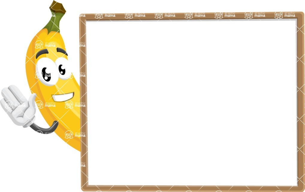 Cute Banana Cartoon Vector Character AKA Banana Peelstrong - Presenting on Blank Whiteboard Template