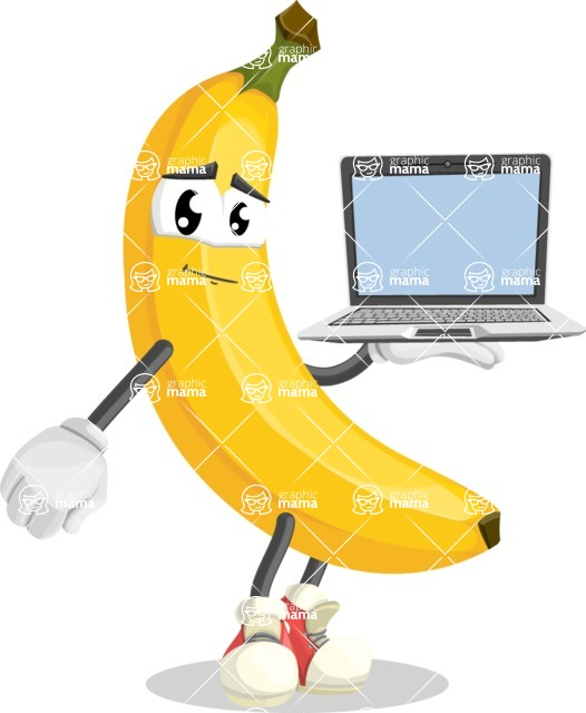 Cute Banana Cartoon Vector Character AKA Banana Peelstrong - Presenting on Laptop