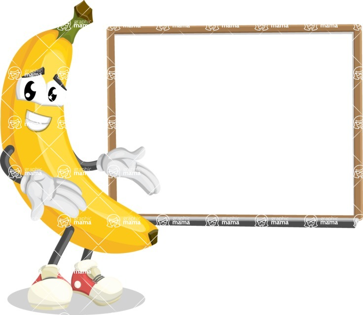 Cute Banana Cartoon Vector Character AKA Banana Peelstrong - Presenting on Whiteboard
