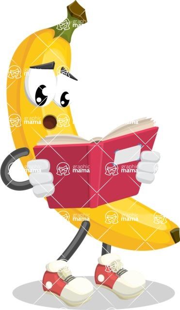 Cute Banana Cartoon Vector Character AKA Banana Peelstrong - Reading a Book