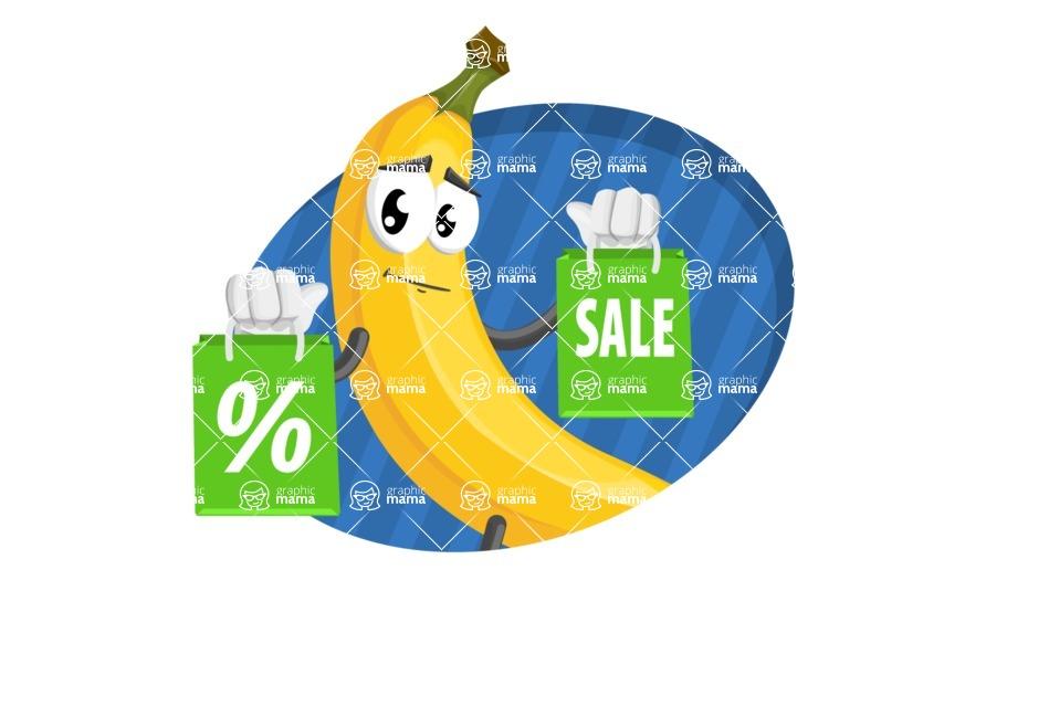 Cute Banana Cartoon Vector Character AKA Banana Peelstrong - Sale Illustration with Flat Modern Background