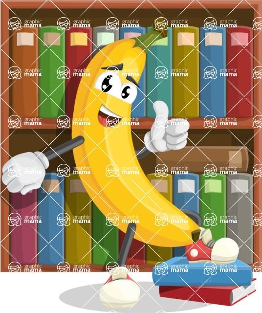Cute Banana Cartoon Vector Character AKA Banana Peelstrong - School Illustration with Books