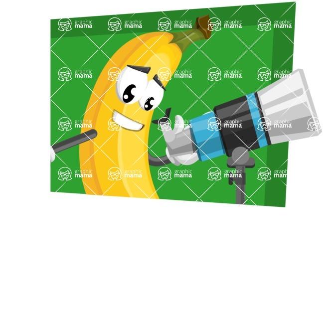Cute Banana Cartoon Vector Character AKA Banana Peelstrong - With Simple Style Background