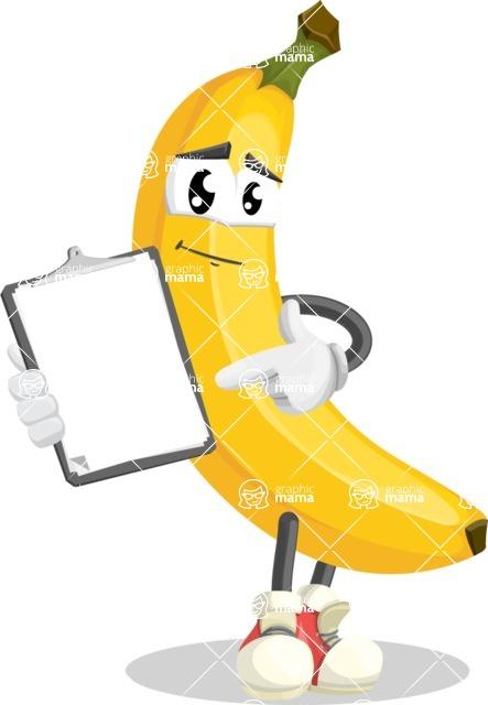 Cute Banana Cartoon Vector Character AKA Banana Peelstrong - Showing a Notepad