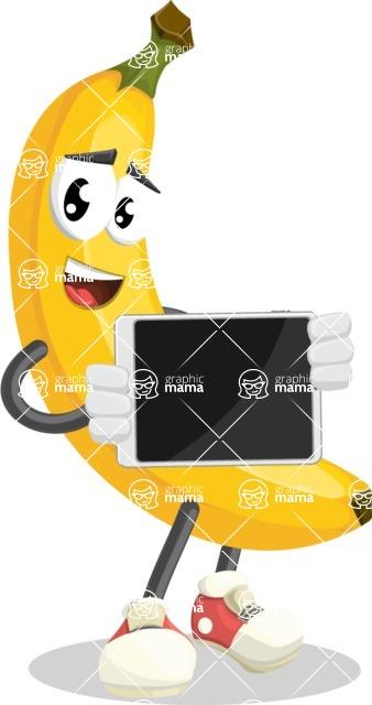 Cute Banana Cartoon Vector Character AKA Banana Peelstrong - Showing Blank Tablet