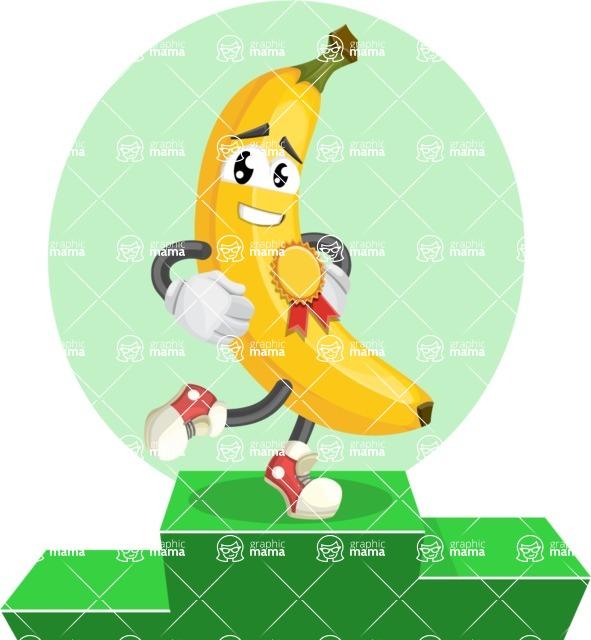 Cute Banana Cartoon Vector Character AKA Banana Peelstrong - The Best Fruit Illustration with Ribbon