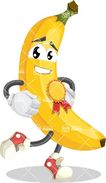 Cute Banana Cartoon Vector Character AKA Banana Peelstrong - Winning a Prize